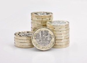 Piles of new £1 pounds