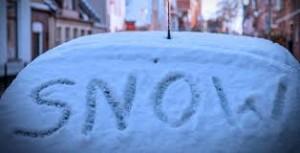 Driving - winter snow on windscreen